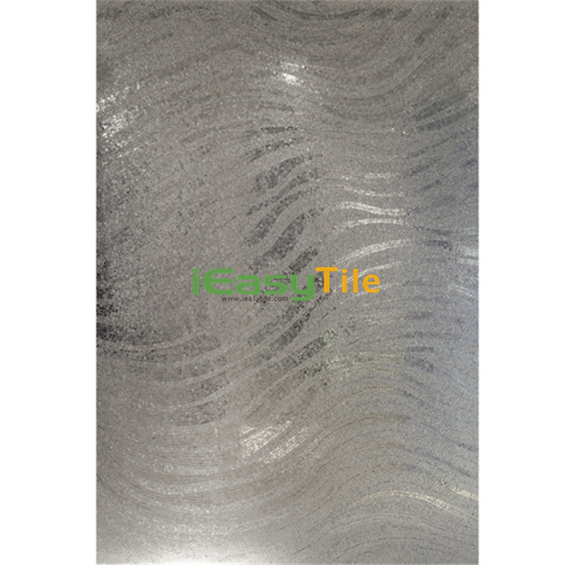 IE-ABM-W01 Wavy Pattern Handmade Wall Mural Silver Glass Mosaic Tile Bathroom Wall Tiles Design