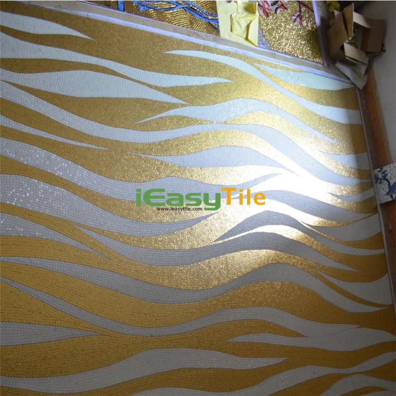 IE-ABM-W02-B Handmade Wavy Mosaic Pattern Golden Glass Mosaic Tile Bathroom Wall Art Murals