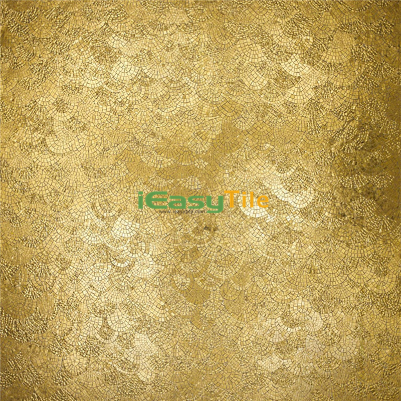 IE-ABM-G01 Fan Shape Mosaic Tile Handmade Bathroom Tile Design Golden Glass Mosaic Wall Mural